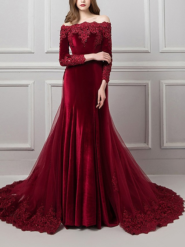 Mermaid / Trumpet Beautiful Back Red Engagement Formal Evening Dress Off Shoulder Long Sleeve Chapel Train Polyester with Overskirt Appliques 2020