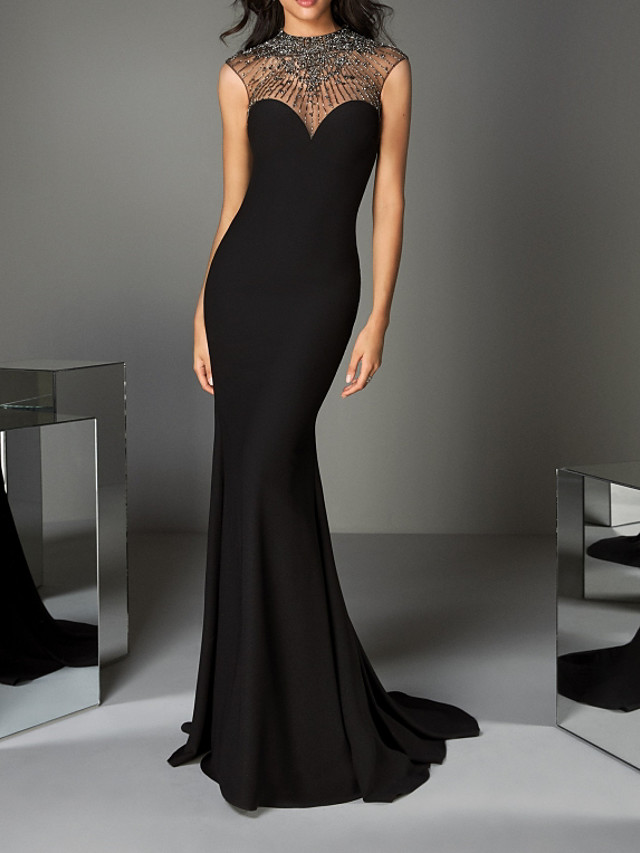 Mermaid / Trumpet Luxurious Black Engagement Formal Evening Dress Illusion Neck Sleeveless Sweep / Brush Train Charmeuse with Crystals Beading 2020