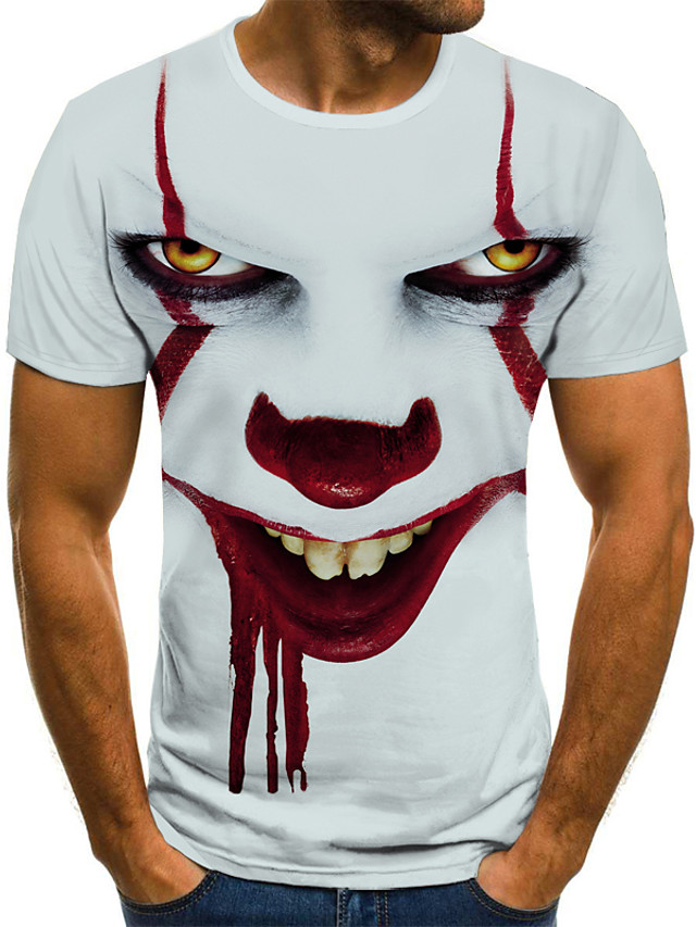 Men's T shirt Graphic Tribal 3D Print Short Sleeve Halloween Tops Streetwear Punk & Gothic White
