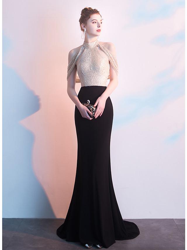 Sheath / Column Celebrity Style Sexy Formal Evening Dress Jewel Neck Sleeveless Sweep / Brush Train Tulle Spandex with Beading 2020