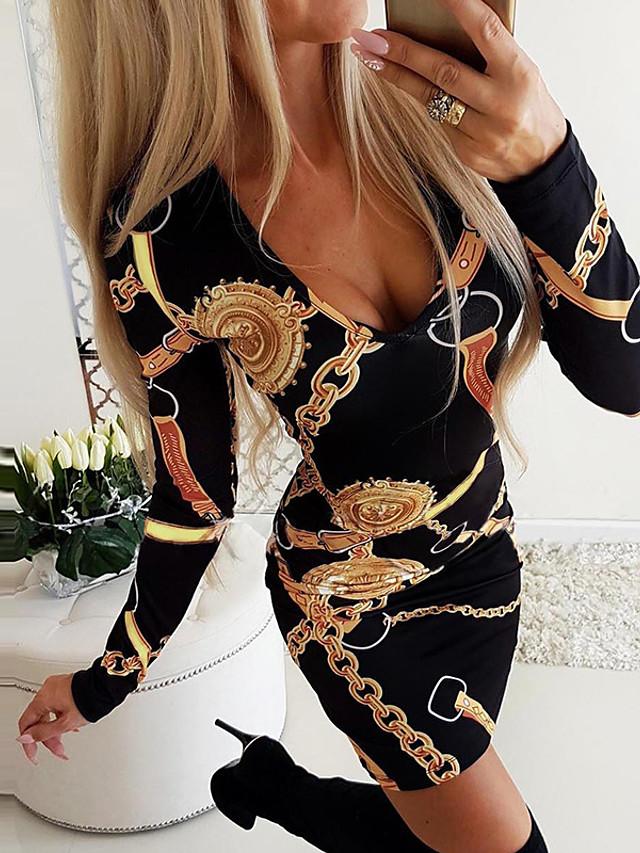 Women's Mini Bodycon Dress - Long Sleeve Geometric Print Print Deep U Street chic Daily Wear Slim Black Blue Purple Red Blushing Pink S M L XL