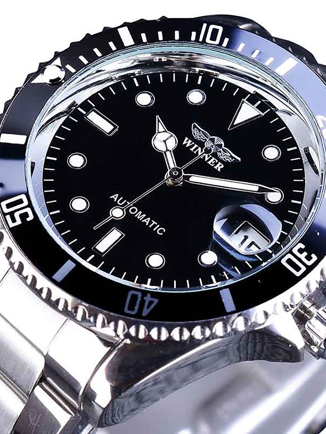 Men's Mechanical Watch Analog Automatic self-winding Sporty Stylish Luxury Water Resistant / Waterproof Calendar / date / day Noctilucent / Stainless Steel / Stainless Steel