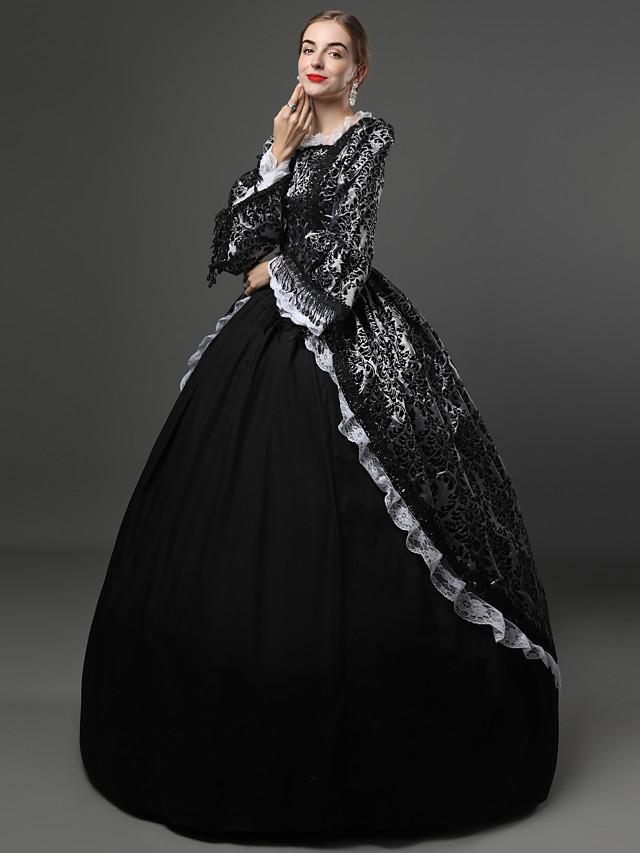 Rococo Viktoriánus 18. stoljeće haljina za odmor Haljine Kostim za party Povorka maski Žene Čipka Čipka Saten Kostim Crn Vintage Cosplay Party Prom Dugih rukava Dugi Duljina Krinolina Veći