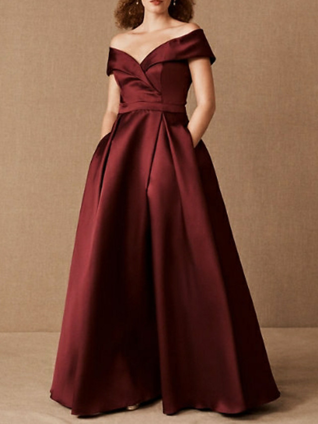 A-Line Plus Size Prom Formal Evening Dress Off Shoulder Short Sleeve Floor Length Satin with Pleats Ruched 2021