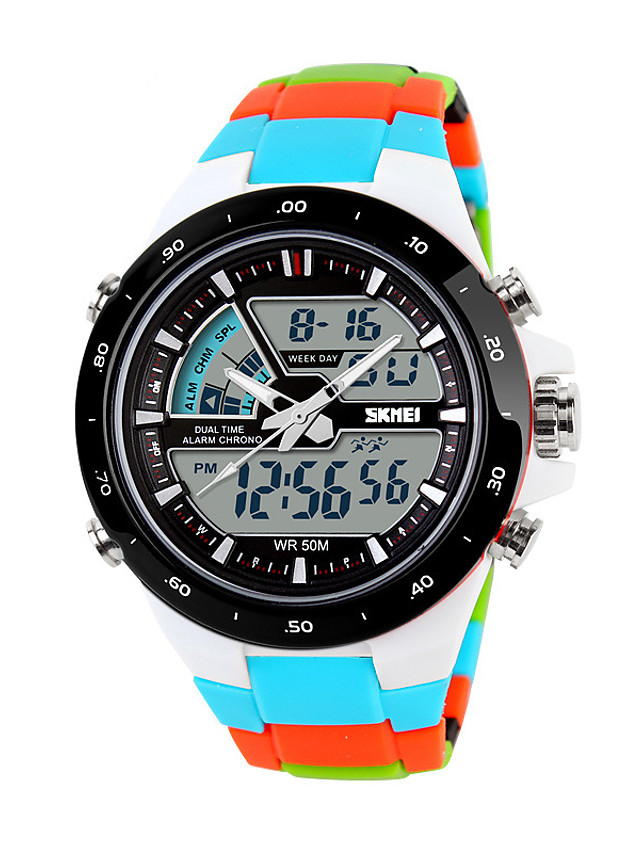 Men's Sport Watch Smartwatch Wrist Watch Digital Charm Water Resistant / Waterproof Quilted PU Leather Multi-Colored Analog - Digital - Black Blue Orange / Calendar / date / day / Chronograph / LED