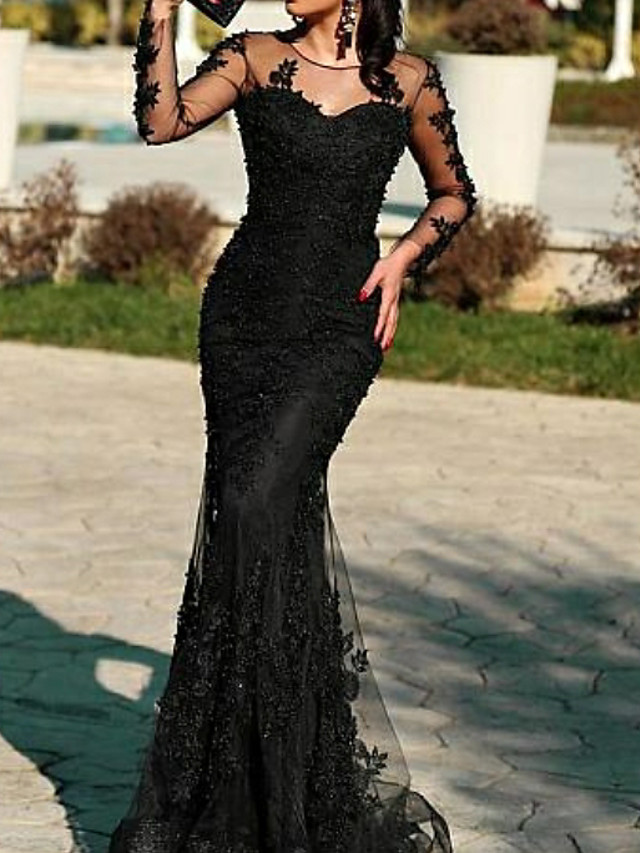 Mermaid / Trumpet Open Back Formal Evening Dress Jewel Neck Long Sleeve Floor Length Tulle with Appliques 2020