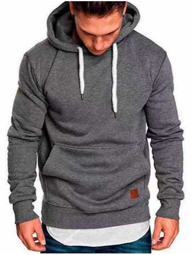 Muškarci Veći konfekcijski brojevi Majica s kapuljačom Jednobojni Geometrijski oblici S kapuljačom Osnovni Ležerne prilike Duksevi majica Lila-roza Žutomrk Crn