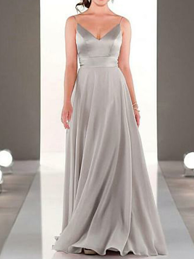 A-Line Spaghetti Strap Floor Length Chiffon Bridesmaid Dress with Pleats / Open Back
