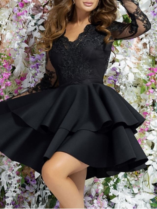 Women's Mini A Line Dress - Long Sleeve Solid Colored Lace Layered Spring & Summer Deep V Cocktail Party Going out Birthday 2020 Black M L XL XXL XXXL