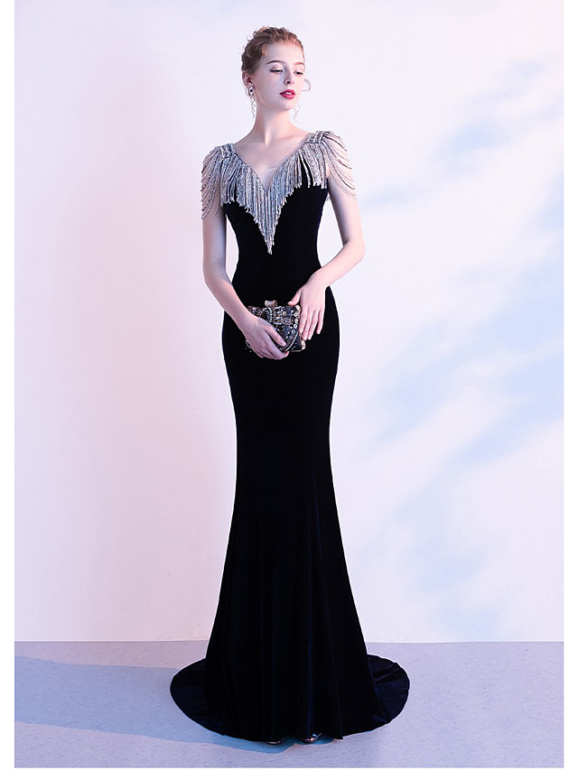 Mermaid / Trumpet Celebrity Style Sexy Formal Evening Dress V Neck Sleeveless Court Train Tulle Spandex with Beading 2020