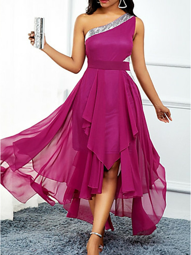 A-Line Hot Pink Wedding Guest Cocktail Party Dress One Shoulder Sleeveless Asymmetrical Chiffon with Pleats Sequin 2020