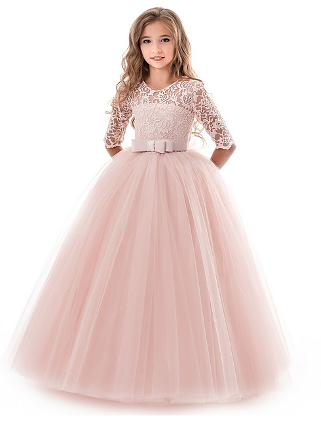Kids Girls' Flower Princess Girls Lace Applique Dress Birthday Wedding Party Princess Prom Dresses