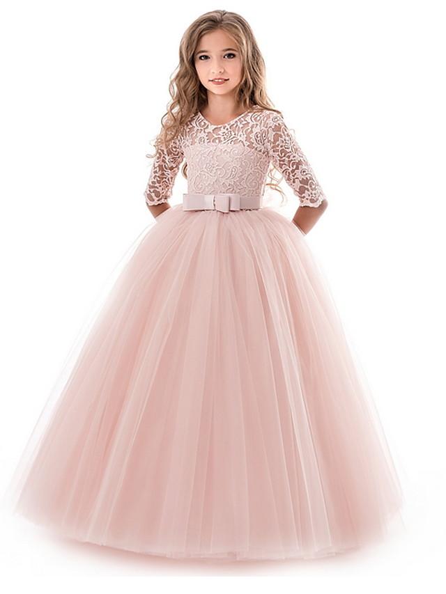 gyerek lányok virágos hercegnő lányok csipke aplika ruha születésnapi esküvői party hercegnő báli ruhák