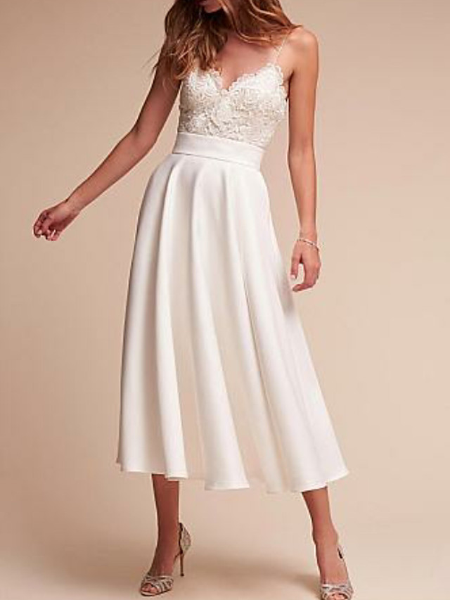 A-Line Wedding Dresses V Neck Tea Length Satin Spaghetti Strap Formal Illusion Detail with Lace Insert 2021