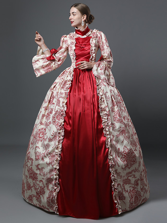 Marie Antoinette Rococo Victorian 18th Century Dress Party Costume Masquerade Women's Costume Green / Burgundy Vintage Cosplay Party Prom Long Sleeve Ankle Length Ball Gown Plus Size