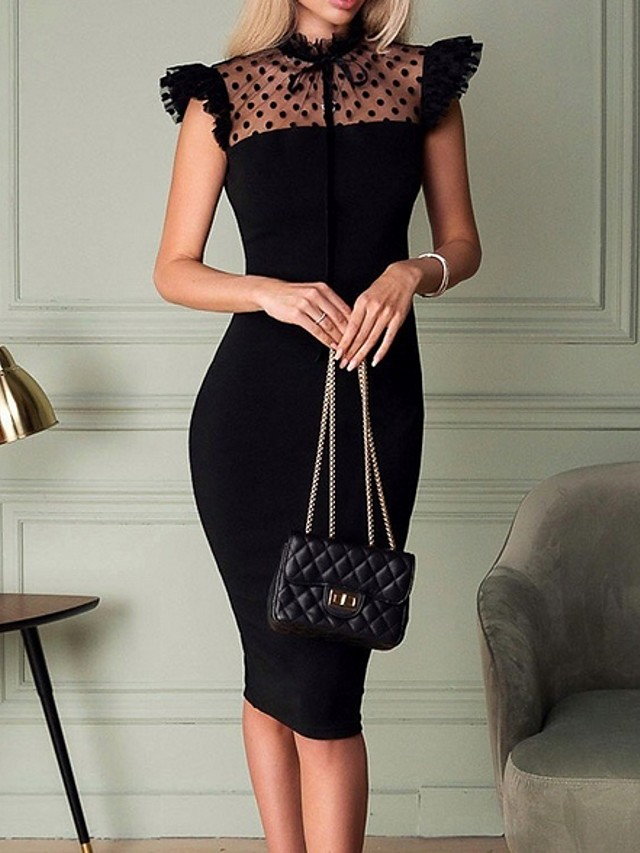 Women's Bodycon Dress - Sleeveless Solid Colored Mesh Chiffon Spring & Summer Crew Neck Elegant Cocktail Party Going out Sleeveless Slim 2020 Black S M L XL XXL / Lace / Little Black