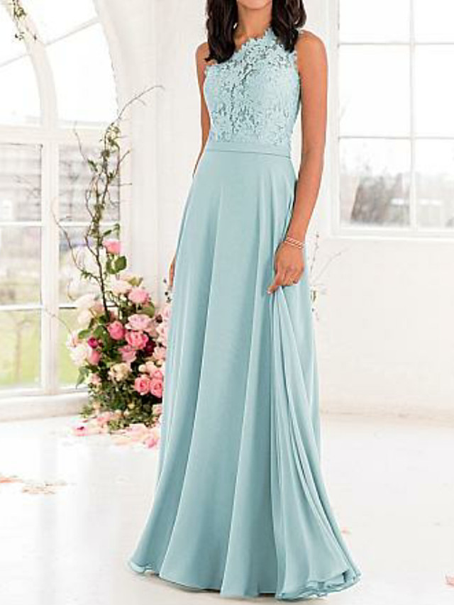 A-Line One Shoulder Floor Length Chiffon / Lace Bridesmaid Dress with