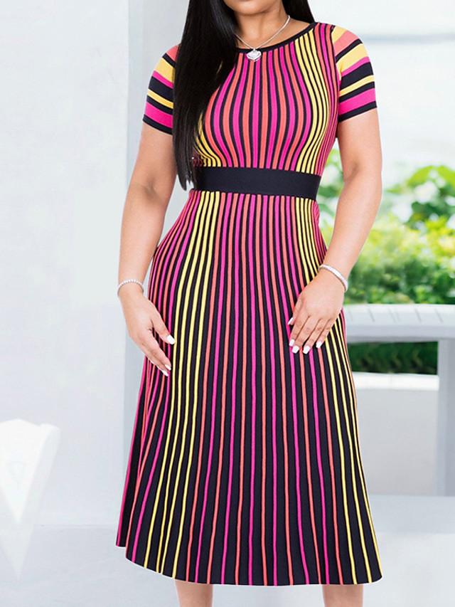 Women's Sheath Dress Short Sleeve Striped Basic Slim Blue Red S M L XL