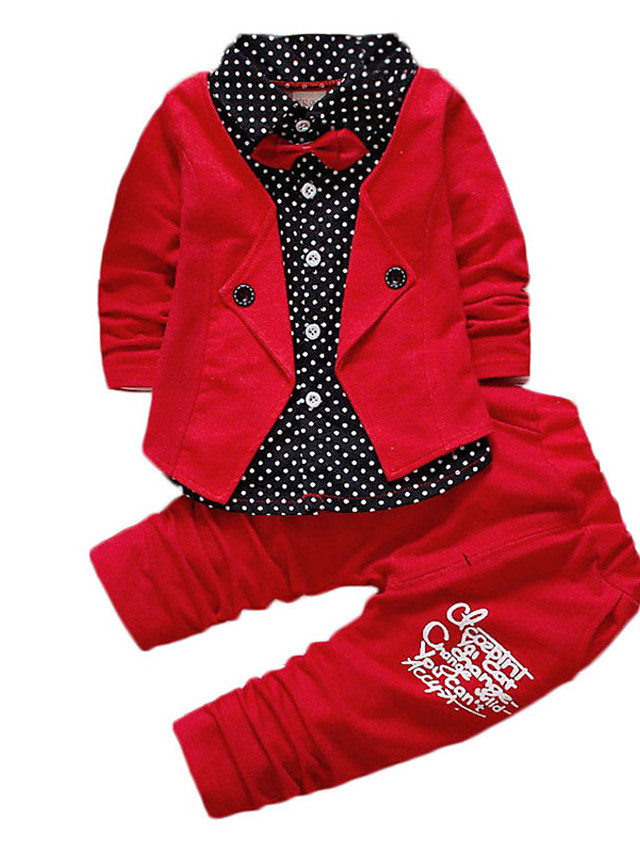 Kids Toddler Boys' Active Basic School Festival Blue & White Black & Red Black & White Polka Dot Color Block Bow Patchwork Print Long Sleeve Regular Regular Clothing Set Red