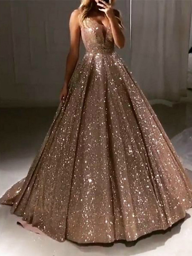 Ball Gown Luxurious Sparkle Quinceanera Prom Dress V Neck Sleeveless Sweep / Brush Train Sequined with Pleats Sequin 2020