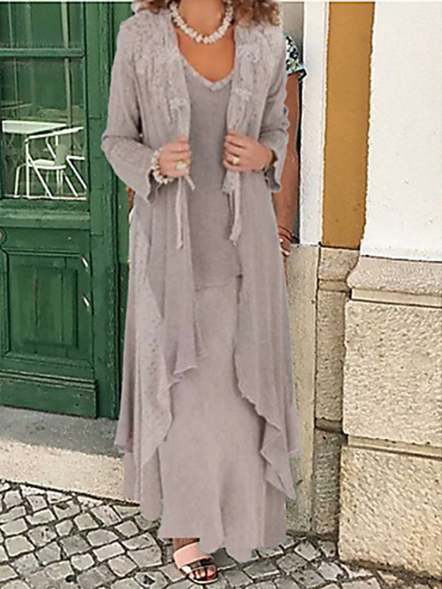 Two Piece A-Line Mother of the Bride Dress Wrap Included Jewel Neck Floor Length Chiffon Long Sleeve with Appliques 2020 Mother of the groom dresses