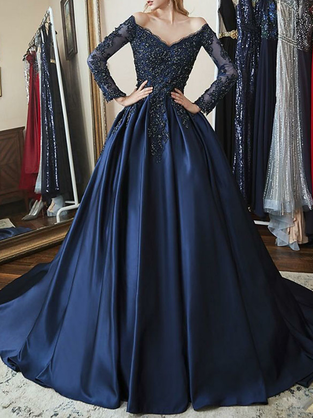 Ball Gown Sparkle Blue Quinceanera Prom Dress Off Shoulder Long Sleeve Chapel Train Satin with Beading Appliques 2020