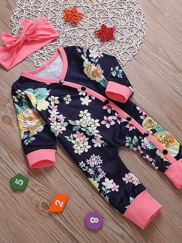 Baby Girls' Basic Floral Long Sleeve Romper Navy Blue