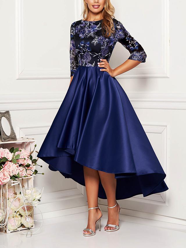 Women's Asymmetrical Swing Dress - Half Sleeve Floral Solid Color Print Spring Fall Elegant Cocktail Party Prom Birthday 2020 Navy Blue M L XL XXL XXXL XXXXL XXXXXL