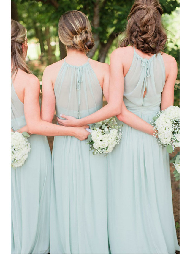 A-Line Jewel Neck Floor Length Chiffon Bridesmaid Dress with Ruching