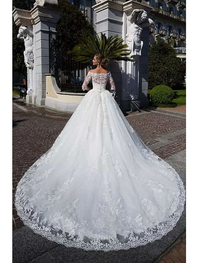 Ball Gown Wedding Dresses Off Shoulder Chapel Train Lace Tulle Lace Over Satin Half Sleeve Formal Sparkle & Shine Illusion Sleeve with Lace Appliques 2020