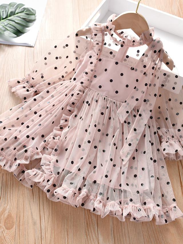 Kids Toddler Girls' Sweet Cute Black & White Polka Dot Solid Colored Long Sleeve Above Knee Dress Blushing Pink
