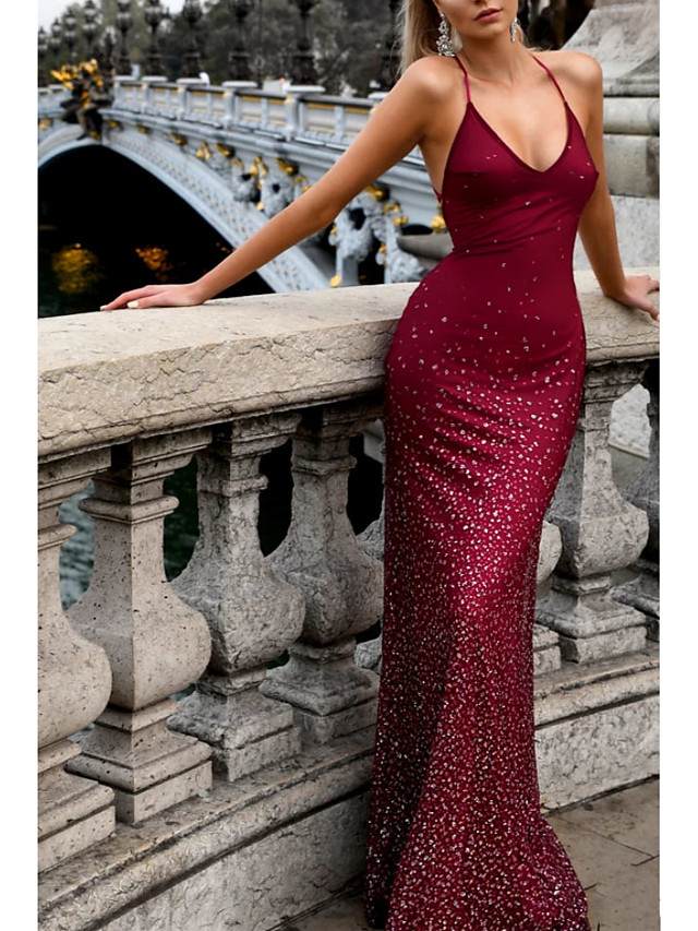 Mermaid / Trumpet Open Back Formal Evening Dress Halter Neck Sleeveless Sweep / Brush Train Polyester with Pleats Sequin 2020