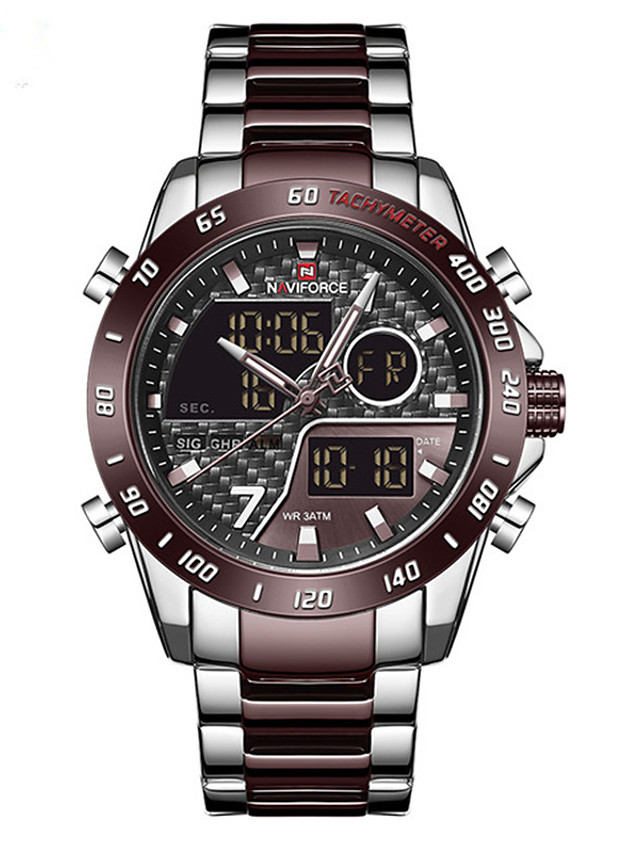 NAVIFORCE Men's Steel Band Watches Quartz Sporty Stylish Fashion Water Resistant / Waterproof Analog - Digital Black / Rose Gold Black Coffee / One Year / Stainless Steel / Calendar / date / day