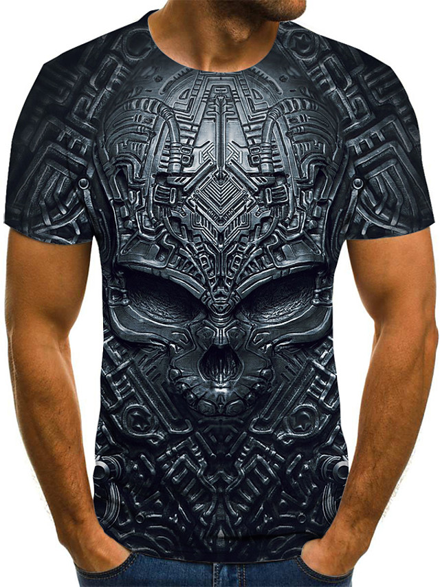 Men's T shirt Graphic 3D Skull Plus Size Print Short Sleeve Daily Tops Streetwear Exaggerated Black Blue Purple