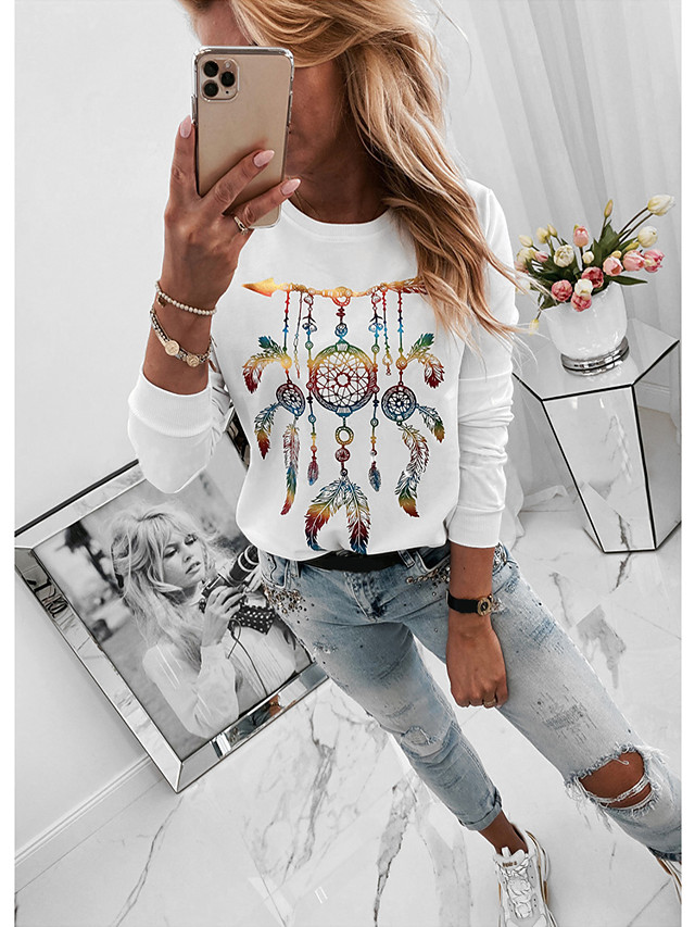 Women's Daily Blouse Solid Colored Print Long Sleeve Tops Basic White