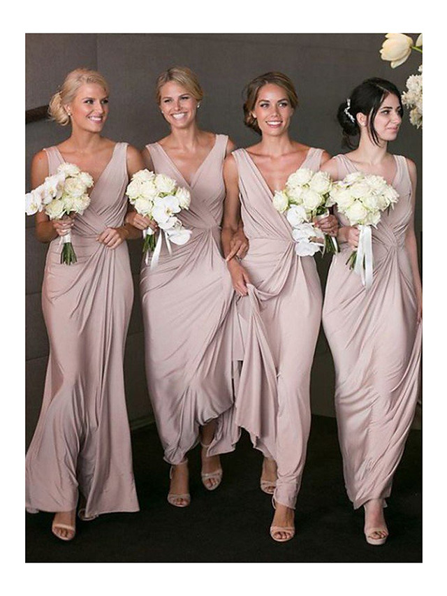 A-Line V Neck Floor Length Jersey Bridesmaid Dress with Ruching