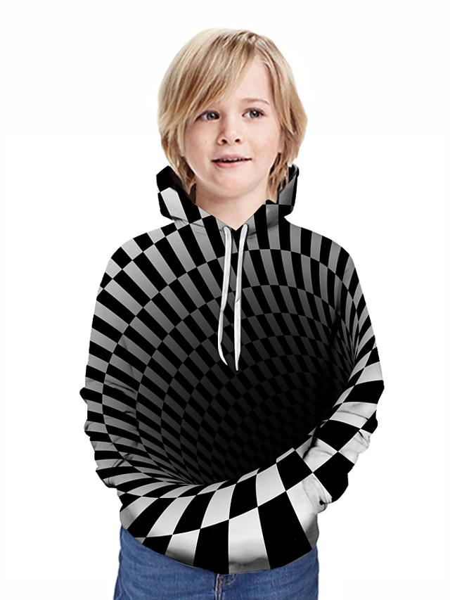 Djeca Dječaci Aktivan Ulični šik Geometrijski oblici 3D Kolaž Print Dugih rukava Trenirka s kapuljačom Crn