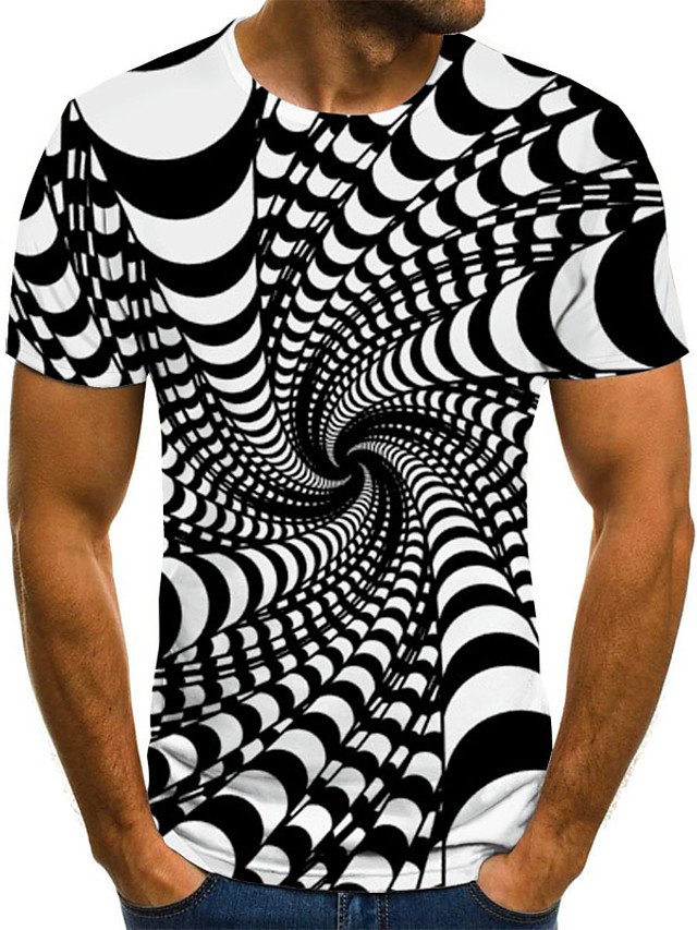 Men's T shirt Graphic 3D Plus Size Print Short Sleeve Casual Tops Streetwear Exaggerated Black Blue Purple
