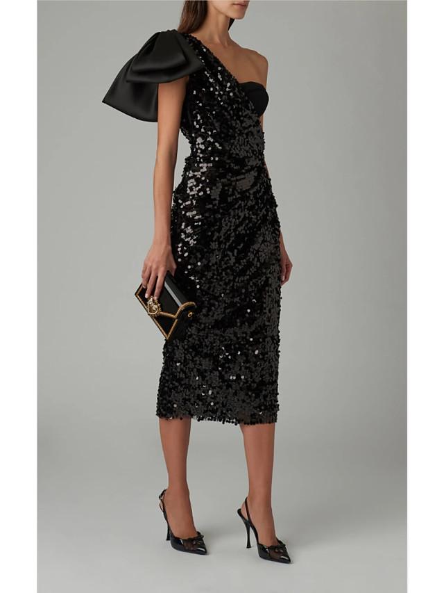 Sheath / Column Elegant Formal Evening Dress One Shoulder Sleeveless Tea Length Sequined with Sequin 2020