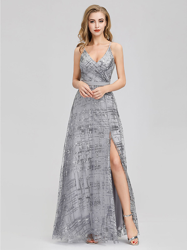A-Line Elegant Prom Formal Evening Dress Spaghetti Strap Sleeveless Floor Length Lace Sequined with Split Front 2020