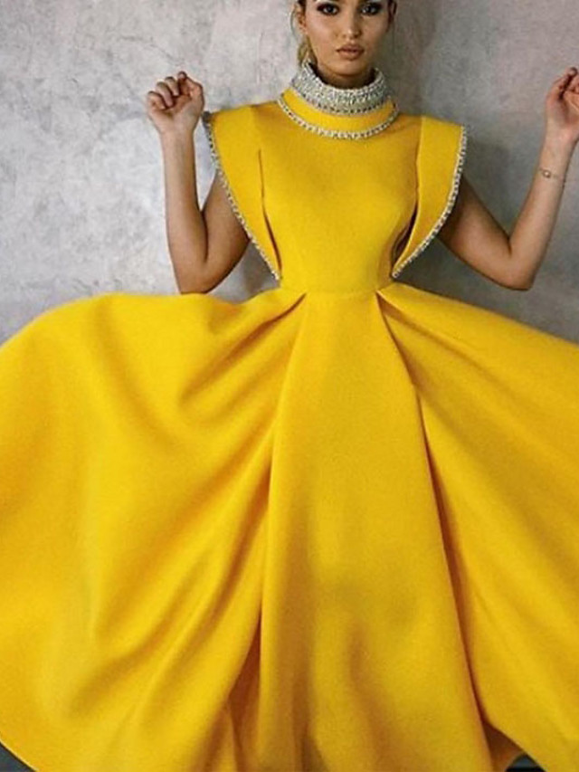 A-Line Vintage Yellow Party Wear Formal Evening Dress High Neck Sleeveless Tea Length Satin with Beading 2020