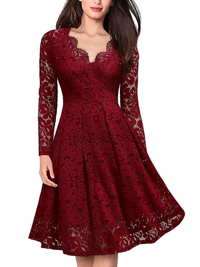 Women's A Line Dress - Long Sleeve Solid Colored Lace V Neck Elegant Wine Black S M L XL XXL