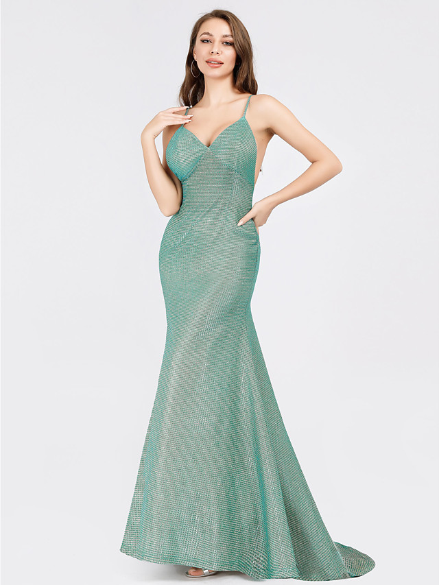 Mermaid / Trumpet Elegant Formal Evening Dress V Neck Sleeveless Sweep / Brush Train Polyester with 2020