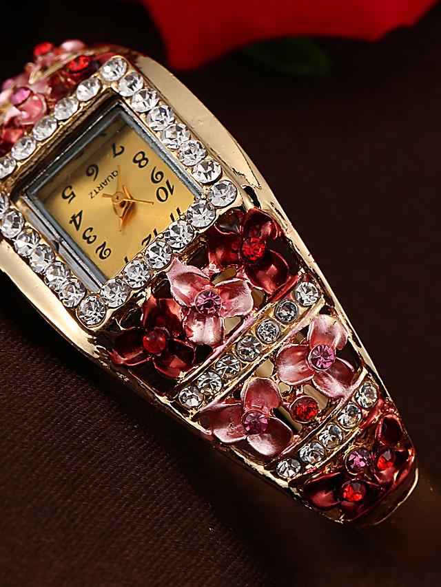 Women's Bracelet Watch Quartz Stylish Floral Style Casual Casual Watch Analog Black Purple Blushing Pink / One Year / Imitation Diamond / One Year