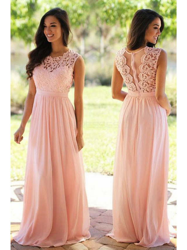 A-Line Jewel Neck Floor Length Chiffon / Lace Bridesmaid Dress with Sash / Ribbon / Pleats
