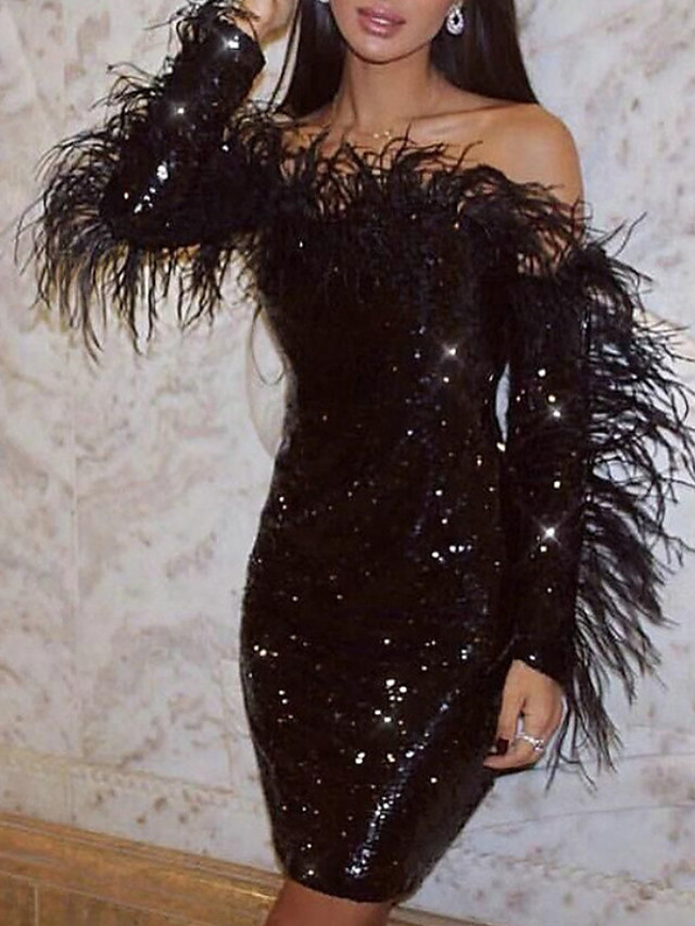 Sheath / Column Sparkle Black Cocktail Party Nightclub Dress Off Shoulder Long Sleeve Knee Length Sequined with Sequin 2020