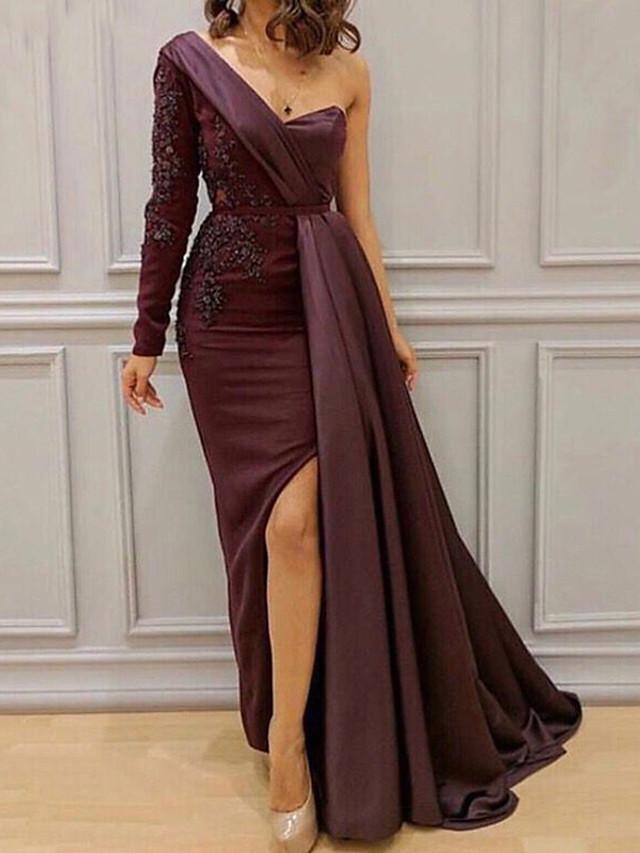 Sheath / Column Furcal Formal Evening Dress One Shoulder Long Sleeve Floor Length Lace Satin with Sash / Ribbon Split Front 2020