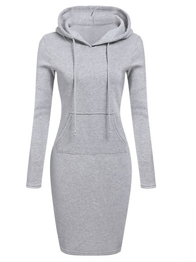 Women's Bodycon Dress - Long Sleeve Solid Colored Wine Black Blue Red Royal Blue Gray S M L XL XXL