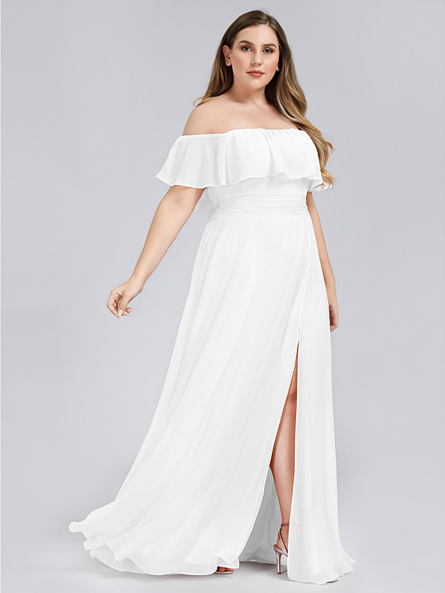 A-Line Plus Size White Holiday Beach Dress Off Shoulder Short Sleeve Floor Length Chiffon with Ruffles Split 2020
