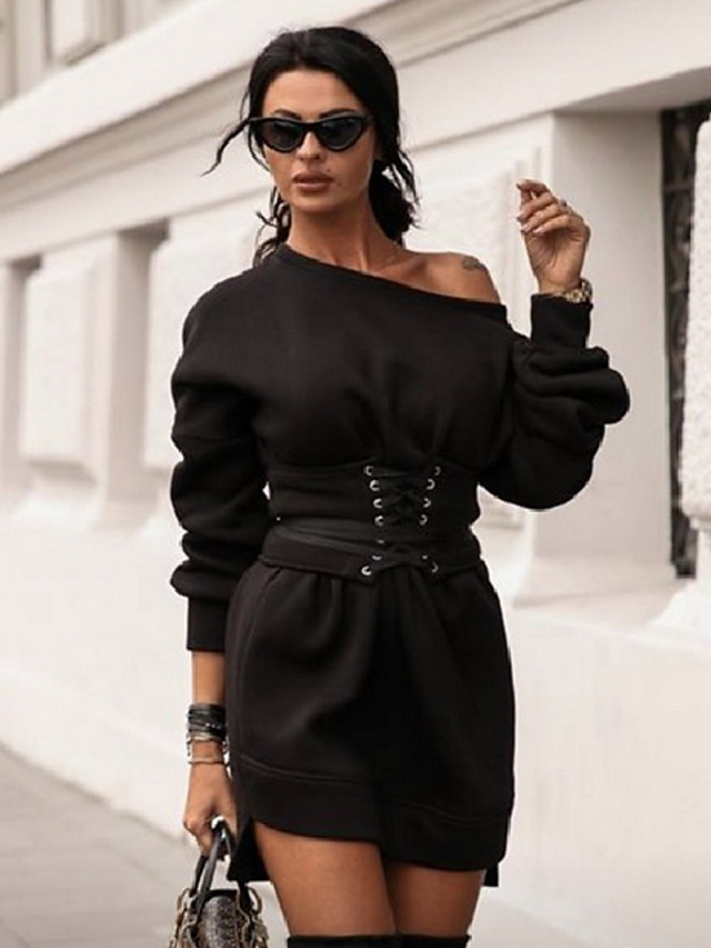 Women's A Line Dress - Long Sleeve Solid Colored Off Shoulder Basic Daily Wear White Black Red S M L XL